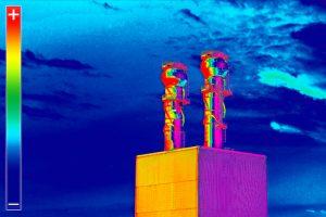 Pila de humo de imágenes térmicas